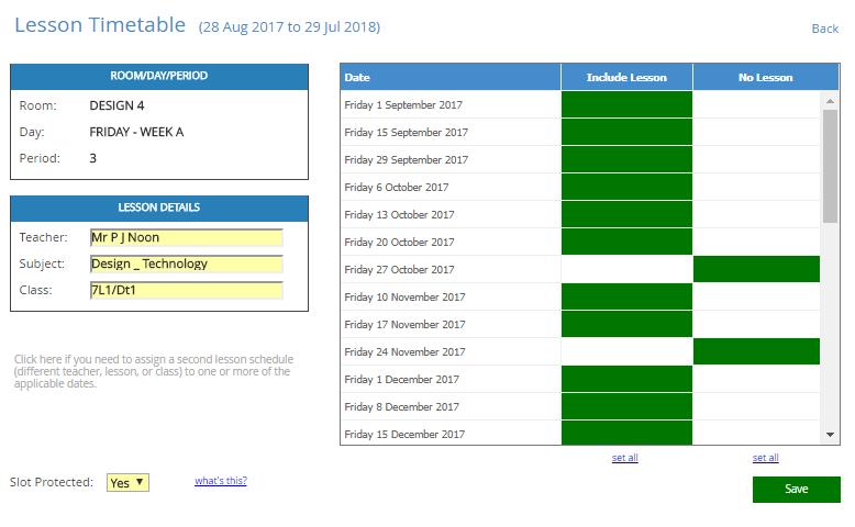Lesson Timetable
