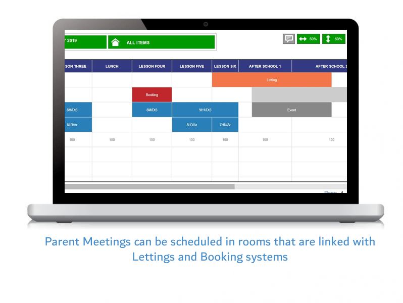 Parent Meetings can be scheduled in rooms that are linked with Lettings and Booking systems