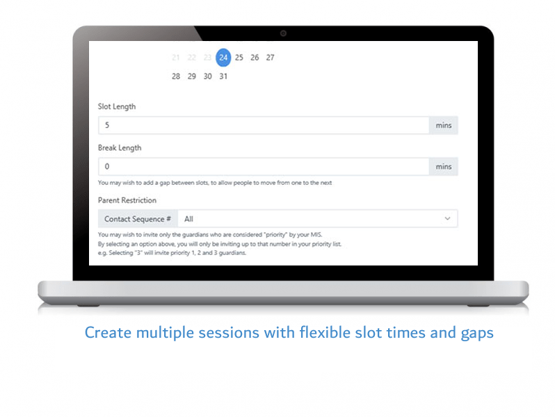 Create multiple sessions with flexible slot times and gap