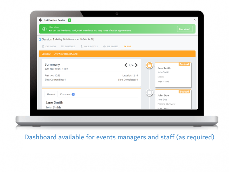 Dashboard available for events managers and staff (as required)